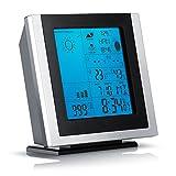 CSL - Funkwetterstation inkl. Hygrometer / Barometer / Innen- und Außentemperatur uvm. | Außensensor | LED-Displaybeleuchtung