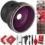 Opteka 0.20x Super Wide Angle Panoramic Macro Fisheye Lens For Canon Digital SLR Cameras W/18-55mm & 50mm 80D, 77D, 70D, 60D, 7D, T7i, 7D Mark II, T6s, T6i, T6, T5i, T5, T4i, T3i, T3, SL1 & SL2