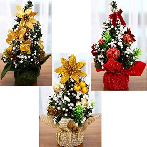 BIEE 3 Stück 20 cm Mini Künstlicher Weihnachtsbaum Tischdekoration Weihnachten Dekorationen