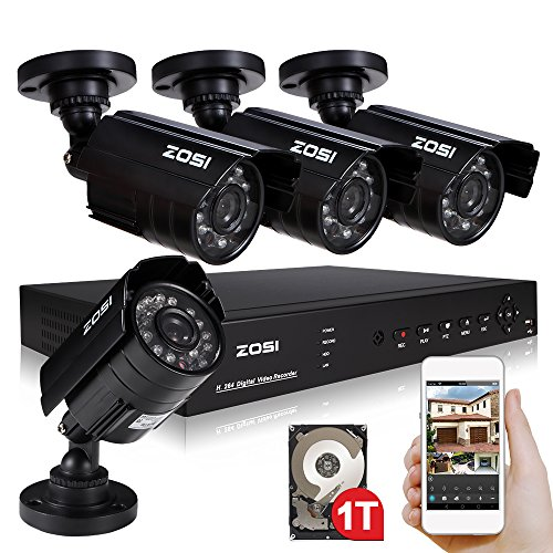 ZOSI 8CH CCTV Full 960H DVR Recording Home Security System Kit with 4PCS 800TVL Waterproof Dayamp;Night Color CMOS Cameras Long Night Vision Surveillance Smart Security Kit 1TB HDD