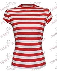 Mujer Mujer Rojo y Blanco Diseño de rayas camiseta de la fiesta sombrero disfraz Outfit