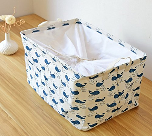 Kimjun Multifunktionale Faltbare Baumwolle Waschekorb Waeschesammler Korb Kinder Spielzeug Aufbewahrungskorb Aufbewahrungsbox mit deckel – Wale - 2