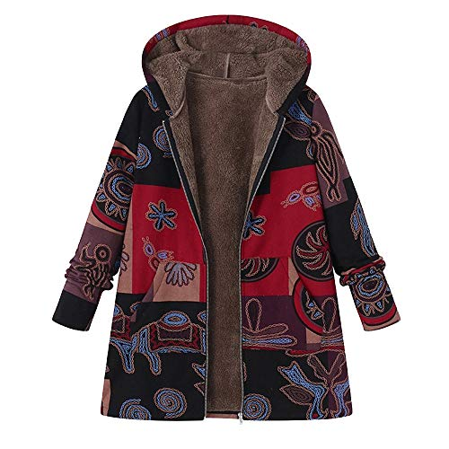 Femme Blousons Manteau Veste À Capuche Longues Parka Chic Coton Lin Chaud Hiver Elegant, QinMM Poilue Fourrure Rembourré Rétro Vintage Épaissir Impression Zipper Pouches Jacket Tops Trench-Coat