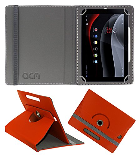Acm Rotating 360° Leather Flip Case for Karbonn Smart Tab 8 Velox Cover Stand Orange  available at amazon for Rs.159