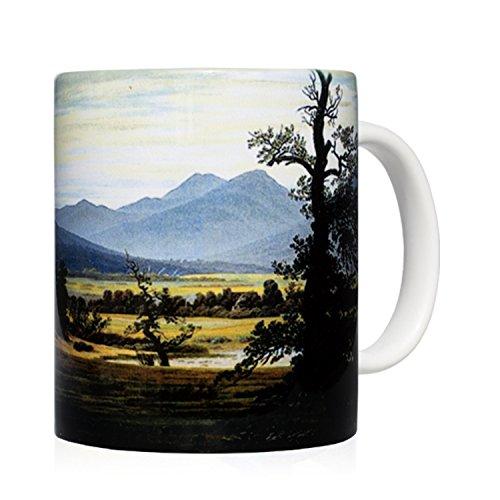 Tasse Mug petit-déjeuner en céramique blanche 32 cl. avec œuvre d'art imprimée L'arbre solitaire, auteur Caspar David Friedrich