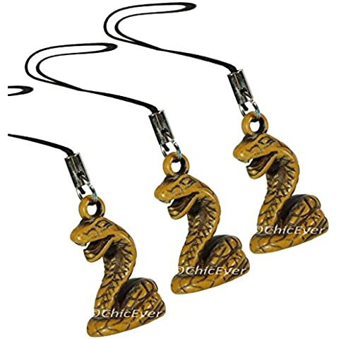 Amuleto de la buena suerte de serpiente de 3 x resina, colgante para el móvil, bolsos, llaveros, 7348