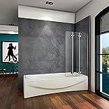 Badewannenaufsatz Duschabtrennung 100x140cm 3-teilig Badewannenfaltwand Duschwand für Badewanne Faltbar 6mm ESG Sicherheitsglas