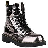 Damen Stiefeletten Worker Boots Lack Profilsohle Boots Schuhe 150326 Grau Metallic Glänzend 40 Flandell