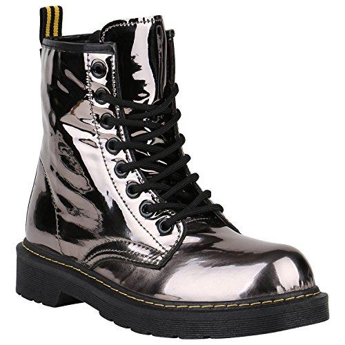 Damen Stiefeletten Worker Boots Lack Profilsohle Boots Schuhe 150326 Grau  Metallic Glänzend 37 Flandell 1d18809353