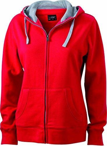 James & Nicholson Damen Lifestyle Zip-Hoody Sweatshirt, Rot (Red/Grey-Heather), 34 (Herstellergröße: S)