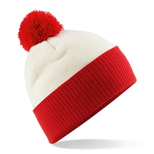 Beechfield - Bonnet -  Homme Multicolore - Off White/Bright Red