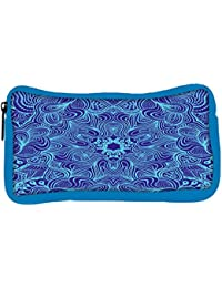 Snoogg Eco Friendly Canvas Blue And Purple Designer Student Pen Pencil Case Coin Purse Pouch Cosmetic Makeup Bag