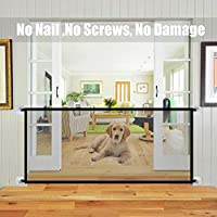 Augproveshak Pet Indoor Dog Gate for Doors Stairs Folding Safe Guard Pet Net Gate Tall Extra Wide, Pet Isolation Fence Net Black