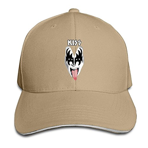 Kiss Rock Band Mask Logo Unmasked Alive Brim Caps Sandwich Peaked Hat