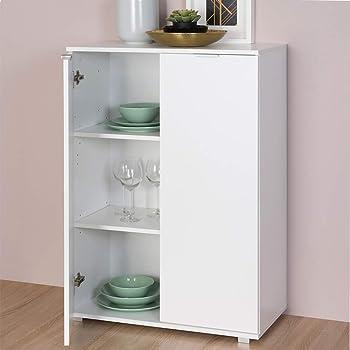 und Esszimmer Möbel Ice 80x84 cm Kommode weiß Hochglanz Sideboard Anrichte Wohn