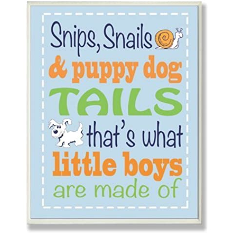 The Kids Room by Stupell Snips and Snails and Puppy Dog Tails Nursery Rhyme on Blue Rectangle Wall Plaque by The Kids Room by Stupell - Puppy Dog Wall Plaque