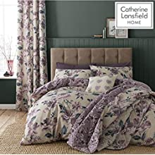 Catherine Lansfield Painted Floral Easy Care Double Duvet Set Plum