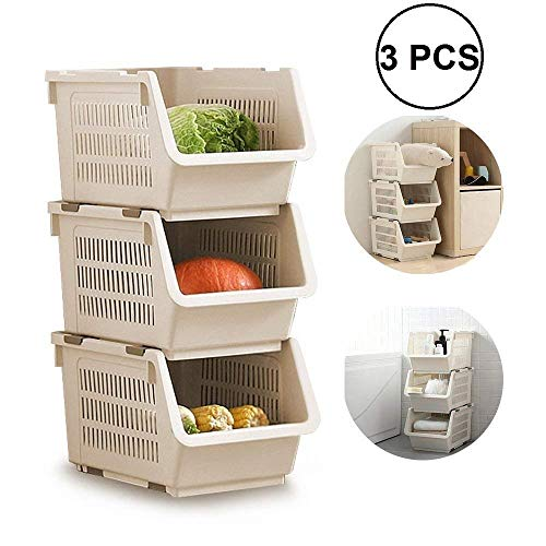 ORPIO  LABEL  Plastic Home Cloth Kitchen Vegetable Fruit Stackable Basket Pantry Items Toys Storage Stacking Rack and Storage Bins  3PCS