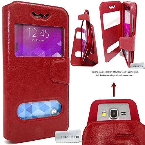 Custodia Compatibile con Samsung Galaxy J1 Ace SM-J110F - Protettiva Cover e View Finestra - Rosso - CEKATECH Protezione Universale di qualità