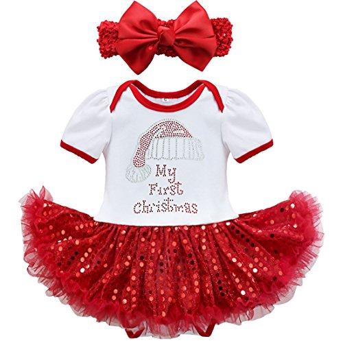 (Freebily Baby Mädchen Weihnachten Bekleidungsset Outfit Strampler mit Tütü Rock + Stirnband Weihnachtskostüm Prinzessin Kleid für Party Halloween Festzug Fasching für 3-18 Monate Weiß 74 / 9 Monate)