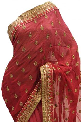 RUBS2957 Splendido abito da sera rosa e magenta Indian Bollywood Party Saree Rosa