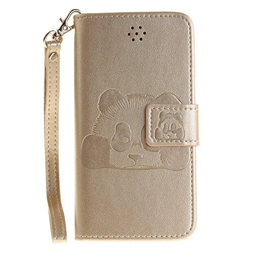 MOONCASE iPhone 7 Coque, Panda Relief Motif Protection en PU Cuir Dragonne Sangle Housse Béquille Etui à Rabat TPU Case Cover avec Porte-cartes Fentes Portefeuille Béquille Fermeture Magnétique pour i Doré