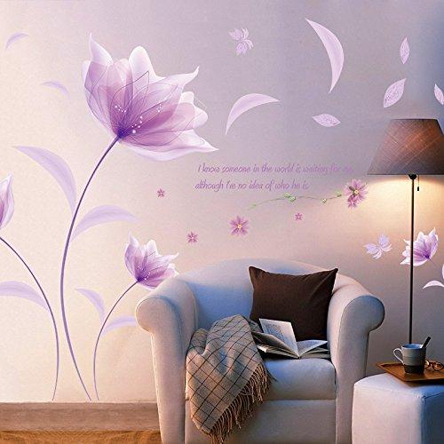 wandaufkleber wandtattoos Ronamick DIY Lila Blumen Lila romantische Wärme TV Hintergrund Wand Dekoration Entfernbare Wandaufkleber Wandtattoo Wandaufkleber Sticker Wanddeko (Lila) -