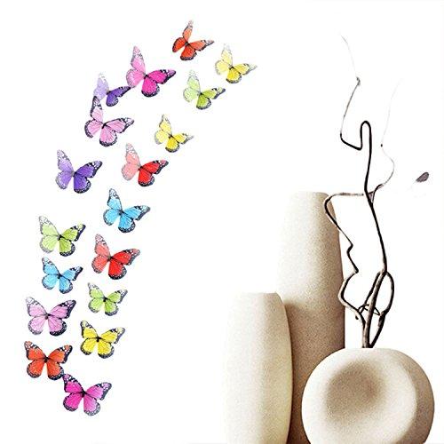 Haimoburg 36er-Set 3D Schmetterling Aufkleber Wandsticker Wandtattoo Wanddeko für Wohnung, Raumdekoration (36pc D)