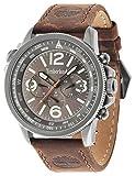 Timberland 13910JSU/61 - Reloj de Pulsera con cronógrafo para Hombre (Mecanismo de Cuarzo, Esfera Negra y Correa de Piel Gris)