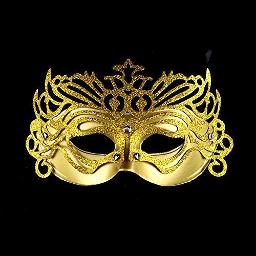 XAOBNIU Halloween Party Maske Prom Prinzessin Göttin Männer und Frauen halbe Gesichtsmaske (Farbe : Golden)