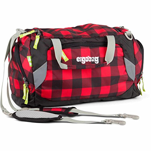 Ergobag borsone da sport 40 cm LiBäro I Nero (Black Red Checks)