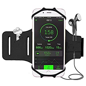 iBeek Brassard Sport iPhone X/8/8 Plus/7/7 Plus/6s [Installation Facile] 180° Rotation Étui Armband avec Attache pour Câble & Porte-clés pour Samsung Galaxy S8/S8 Plus/Note 8 [4.0-6.3 Pouces] (Noir)