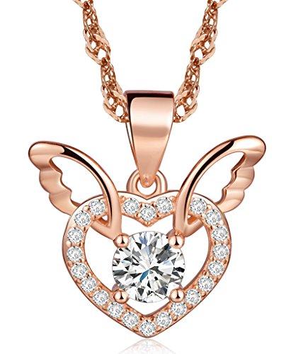 Unendlich U Fashion Charme 925 Sterling Silber Damen Halskette Engel Flügel Herz Zirkonia Anhänger Kettenanhänger, Rosegold
