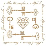 Stencil Deco Vintage Composición 199 Llaves. Medidas aproximadas: Medida exterior del stencil: 20 x 20 cm Medida del diseño:18,3 x 18,4 cm