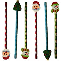 6 Christmas Pencil with Eraser Toppers Xmas Favours Girls Boys Kids Children Party Toy Bag Filler - Santa Snowman Snowlake & Christmas Tree Design Stationery Set