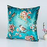 DW HCKK Silk Kissen Chinesische Vogel und Blume-Kissen Mahagoni Sofakissen Bett Kissen Büro-Kissen-G 45x45cm(18x18inch) VersionB