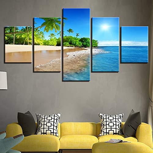 5 panel druckrahmen strand sonnenschein palm tree home wanddekoration zeichnung leinwand wandrahmen -