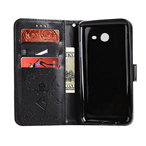 Abnehmbare 2 in 1 Crazy Horse Texture PU Ledertasche, Fairy Girl Embossed Pattern Flip Stand Case Tasche mit Lanyard & Card Cash Slots für Samsung Galaxy J520 ( Color : Rosegold ) Black