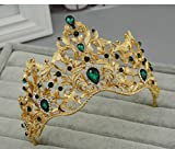 Bride Crown Earring Set Baroque Crown Wedding Style Hair Ornaments Headdress , B