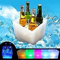 SH-Flying Cubo De Hielo LED, Enfriador De Vino De Gran Capacidad De 3.5L Led Impermeable con Cambio De Colores, Retro Champagne Bebidas Cubo De Cerveza, Energía por Pilas AAA, para Fiesta, Hogar by
