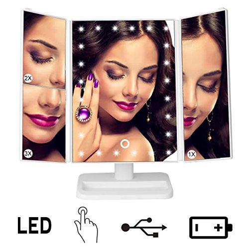Specchio Trucco, Illuminato Specchio Cosmetico Ingranditore 1X 2X 3X con 24 LED Luci Specchio Ripiegabile Regolabile di 180° Ricaricabile con USB
