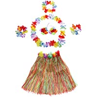 JUNGEN 6pcs Falda de Hierba de Hula con Flores Disfraces Guirnalda Pulsera Diadema Kit Hawaiana Costumes Accesorios para Festivales de Danza Fiesta de Playa (40cm)