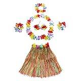 Leisial 6pcs Mujer Falda de Hierba con Flores Hawaiana Vestido de Cintura Accesorios para Festivales de Danza