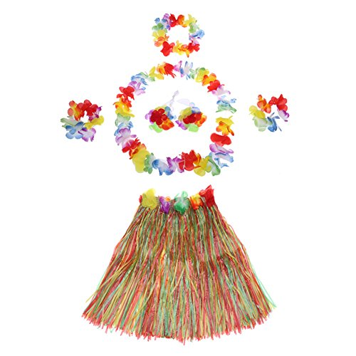 LAMEIDA Hawaii-Rock Hawaiian Fiber Kunststoff Rock elastische Gürtel Kostüm Set Stirnband Armband Hals Ring Tanz Party Fasching Zubehör 40cm