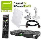 HB DIGITAL DVB-T/T2 Set: Skymaster DTR5000 DVB-T/T2 Receiver, kartenloses Irdeto-Zugangssystem für freenet TV + Globo Z2 Plus Aktive Antenne (Full HD HEVC/H.265 HDTV HDMI Ethernet USB DVBT2 DVB-T2)