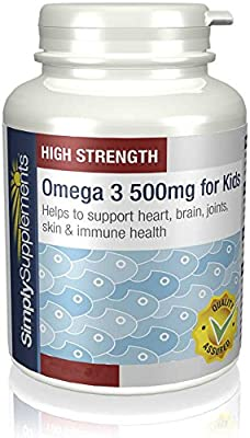 SimplySupplements High Strength & Pure Omega 3 500mg for Kids|For aged 5-14 years|360 Capsules in total by Simply Supplements