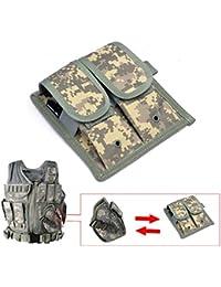 YAKEDA® Ejército Fans chaleco táctico VT-1063, pistola táctica adicional Doble Mag bolsa VT11 (dos piezas) (ACU Camouflage)