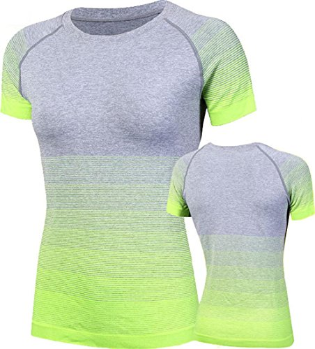 Jeansian Femme Casual gymnase exercice de sport T-Shirt Top Women Fashion Fitness Running Gym Sport Elastic Tee Tops SMF007 green