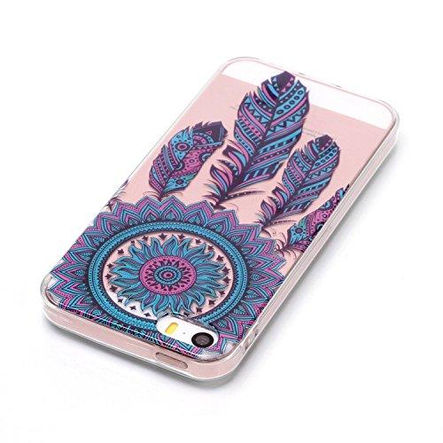 iPhone 5S Hülle, Voguecase Silikon Schutzhülle / Case / Cover / Hülle / TPU Gel Skin für Apple iPhone 5 5G 5S SE(Bunt Schmetterling 07) + Gratis Universal Eingabestift Feder 07