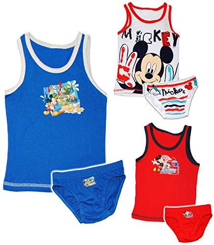 """2 tlg. Set: Unterwäsche - """" Disney Mickey Mouse - Maus """" - Gr. 104 / 110 - Größe 3 bis 4 Jahre - Slip & Unterhemd - 100 % Baumwolle - Unterhose - für Kinder Pants Unterhosen / Playhouse - Slips Jungen & Mädchen - Shorts - Mäuse Pants / Set - Panty"""